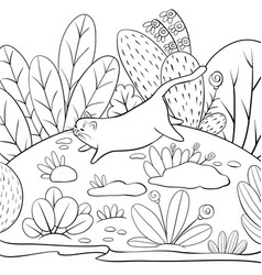A children coloring bookpage a jumping cat on the vector