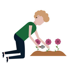 a girl is cleaning on a flower bed vector image
