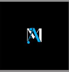 A m letter logo creative design on black color vector