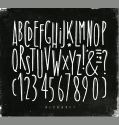 Alphabet straight lines font chalk vector