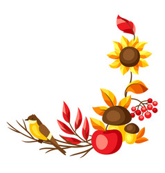 autumn frame with seasonal leaves and items vector image
