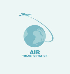 banner on air transportation with planet earth vector image