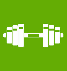 barbell icon green vector image