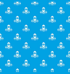 barber shop pattern seamless blue vector image