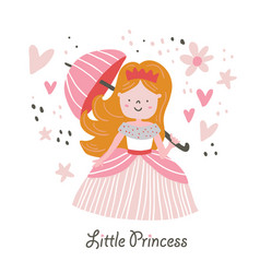 beautiful blond hair princess with umbrella vector image