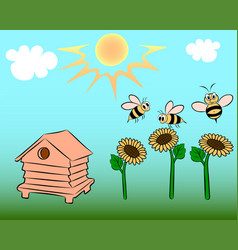Bees on the field vector