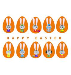 big set easter bunnies vector image