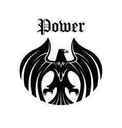 Black eagle round symbol for heraldic design vector image