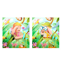 boy and girl scouts safari adventure in forest vector image