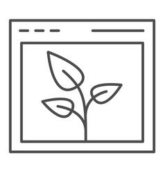 Browser with leaf thin line icon web window and vector