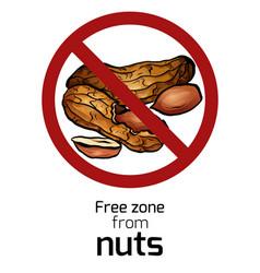 Cartoon peanut in prohibition sign free zone vector