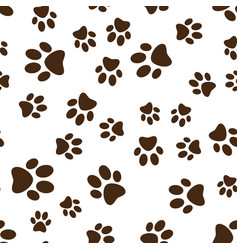 Cat or dog brown paw prints seamless vector