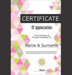 certificate or diploma geometric design template 4 vector image