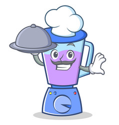chef with food blender character cartoon style vector image