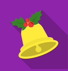 Christmas bell with holly berry icon in flat style vector