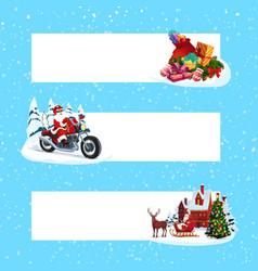 christmas tree gift santa and deer xmas banners vector image