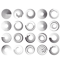 circle dotted speed lines abstract round halftone vector image