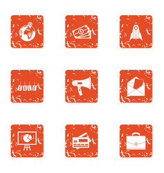 Closeout icons set grunge style vector