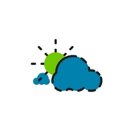 Color line icon for flat design Clouds and sun vector