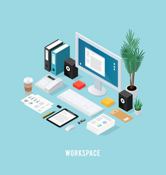 Colored office workspace isometric composition vector