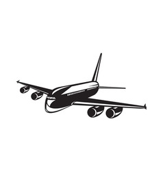 Commercial Jet Plane Airline Woodcut vector