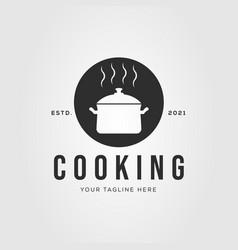 Cookware cooking steam pan logo design vector