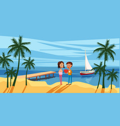 Couple sitting on the deck chairs at the sea view vector