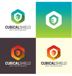 Cubical shield logo and icon vector