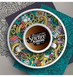 Cup of coffee and hand drawn picnic doodles vector image