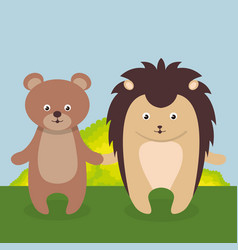 Cute bear and purcopine in the field landscape vector