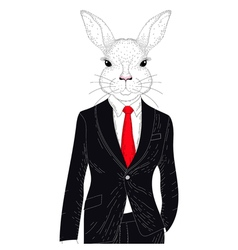 Cute rabbit boy in elegant classic suit vector