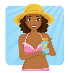 dark skinned girl holding sunscreen vector image