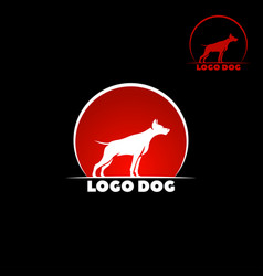 Dog logo abstract design template dog silhouette vector