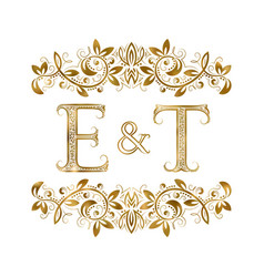 e and t vintage initials logo symbol vector image