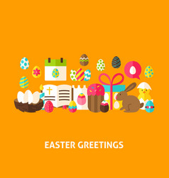 Easter greeting postcard vector