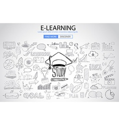 Educational and Learning concept with Doodle vector