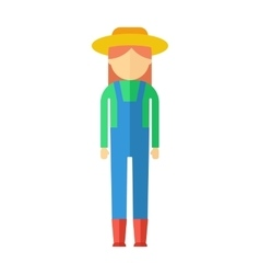 farmer woman color icon vector image