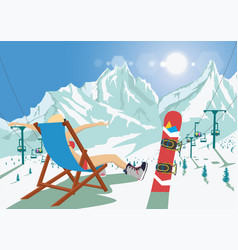 female snowboarder in bikini sitting in deck chair vector image