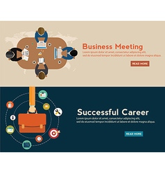 Flat designed banners for business meeting vector image