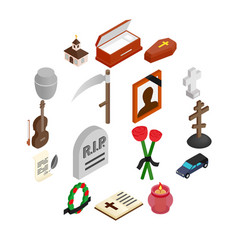 Funeral and burial isometric 3d icons vector