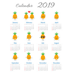 funny annual pineapples calendar 2019 vector image