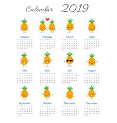 Funny annual pineapples calendar 2019 vector