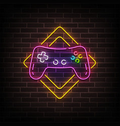 Game zone neon sign bright signboard light vector