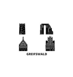 germany greifswald flat travel skyline set vector image