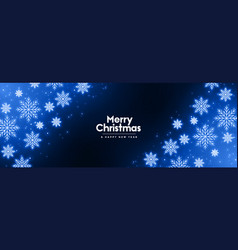 glowing blue neon snowflakes winter merry vector image