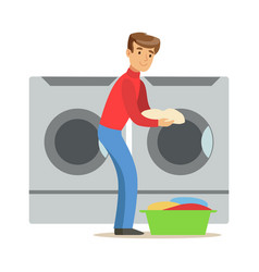 Guy loading dirty laundry part of people using vector