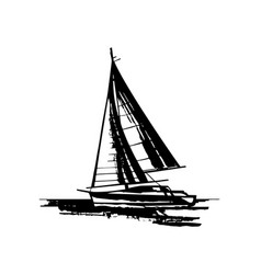 hand drawn sailing yachts silhouettes vector image