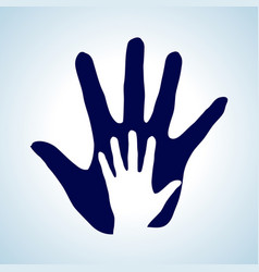 Hand in hand in white and blue rendering help vector