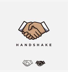 handshake logo confirmed deal logo agreement logo vector image