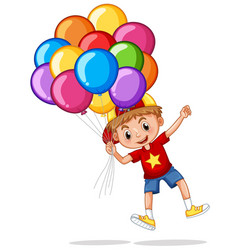 happy boy with colorful balloons vector image